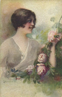 PC CPA C. MONESTIER ARTIST SIGNED LADY WITH PINK ROSES   (b26598) - Monestier, C.