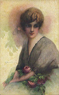 PC CPA C. MONESTIER ARTIST SIGNED LADY WITH PINK ROSES   (b26599) - Monestier, C.