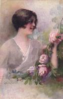 PC CPA C. MONESTIER, ARTIST SIGNED, LADY WITH ROSES, Vintage Postcard (b26601) - Monestier, C.
