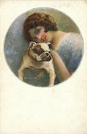 PC CPA C. MONESTIER ARTIST SIGNED LADY WITH HER DOG Vintage Postcard (b26604) - Monestier, C.