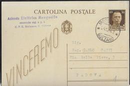 STORIA POSTALE REGNO - CARTOLINA POSTALE  VINCEREMO CENT 30 (INT. 95) DA MONGUELOD*24.12.42*BOLZANO PER PADOVA - Marcophilie