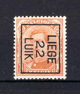 PRE57B MNH** 1922 - LIEGE 22 LUIK - Typo Precancels 1922-26 (Albert I)