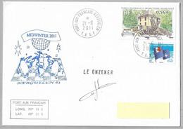 36 - TAAF 485 Et 555 Maison Patureau 21.6.2011 Kerguelen Sur Pli Midwinter-  Superbe Cachet Illustré Signé LE ONZEKER. - Cartas