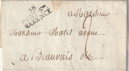 """MP """"58 PONT-Ste / MAXENCE"""" (superbe) + Taxe Man. 2d. Pour Beauvais. - 1801-1848: Vorläufer XIX"""