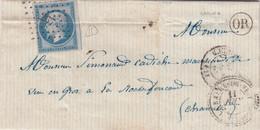 LETTRE. 11 JUIN 61. N° 14. PERLÉ T22. LA BARRE DE VEYRAC. VIENNE. PC 267. ORIGINE RURALE OR = COGNA - 1849-1876: Klassik