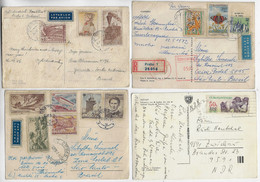 Czechoslovakia 1956 / 1982 4 Postcard 3 Sent To Brazil + 1 To Germany 13 Stamp + 4 Registered And Airmail Label + Meter - Covers & Documents