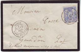 25 C SAGE Obl RARE CACHET , PARIS GARE DE L' OUEST , Lettre Pour Gourdon Lot 1878 - 1877-1920: Semi Modern Period