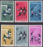 Rwanda 1966 - Youth And Sports: Football, Basketball, Volleyball - Mi 171-176 ** MNH - 1962-69: Neufs