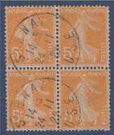 Type Semeuse Camée N°158 Bloc De 4 Oblitéré 5c Orange - 1906-38 Semeuse Camée