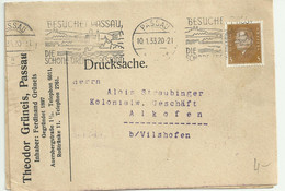 German Reich Commercial Letter/ Drucksache. PASSAU DIE SCHONE DREIFLUSSESTADT.1933.(Bent Corner) - Storia Postale
