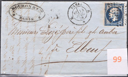 Lettre Bureau De Quartier De Paris Du  14/07/1856, N°K, Rue  Bourdaloue - 1849-1876: Periodo Classico