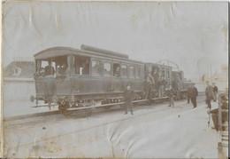 MAGNIFIQUE GRANDE PHOTO TRAIN  PLM  EN GARE / FIN 19 E / DEBUT 20 EME ? - Trenes
