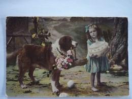 AK Hund Bernhardiner Und Mädchen - Dogs