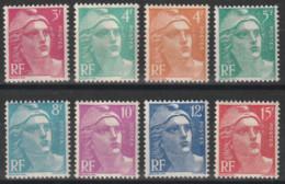 Année 1948 - N° 806 à 813 - Marianne De Gandon - Série 8 Valeurs - Neufs Cote 11 € - 1945-54 Marianna Di Gandon