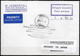 Corona Covid 19 Postal Service Interruption Reply Coupon Paid Cover GERMANY To NEW CALEDONIA But MISSENT TO JAPAN - Krankheiten