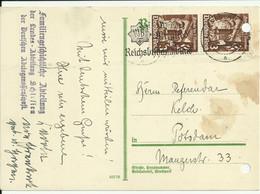 """Postkarte Breslau To Potsdam 1935. With Propaganda Stamp """"Werdet Mitglied Im Reichsluftschutzbund"""". Please, See The Scan - Storia Postale"""