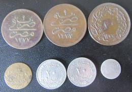 Turquie / Empire Ottoman Dont Egypte - 7 Monnaies Diverses Dont Une Petite Monnaie En Argent à Identifier - Turquia
