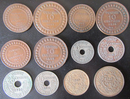 Tunisie - 12 Monnaies Entre 1891 Et 1945 Dont 10 Centimes 1926 Peu Commune - Túnez