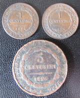 Italie / Sardaigne - 3 Monnaies : 1 Centesimo 1826 P X 2 + 5 Centesimi 1826 - Italian Piedmont-Sardinia-Savoie