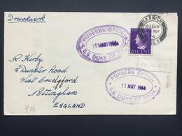 NETHERLANDS 1954 Paquebot Cover Harwich Marks + `SS. DUKE OF YORK, Purser`s Office` Cachets - Briefe U. Dokumente