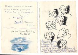 2 Disegni Umoristici  Da Diario Degli Anni '40 - Estampas