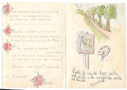 2 Disegni A Penna E Acquarello ,  Umoristici ,  Da Diario Degli Anni '40 - Estampas