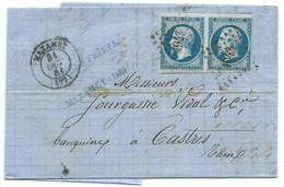 N° 14 BLEU NAPOLEON SUR LETTRE / MAZAMET POUR CASTRES / 31 OCT 1861 - 1849-1876: Periodo Clásico