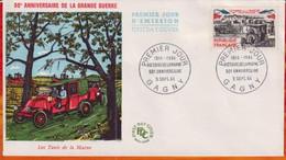 FDC- Edition  JF # FRANCE-1964 # 50° Les Taxis De La Victoire De La Marne  (Yvert N° 1429 )   Obl. PJ Gagny - 1960-1969