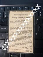 V167 De Frez Maria Leona D'hondt Dhondt Désiré Nazareth Gent 1862 1934 - Overlijden
