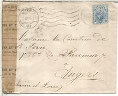 MADRID A ANGERS 1915 CC SELLO MEDALLON ALFONSO XIII CABEZA ABAJO CON CENSURA MILITAR FRANCESA - Cartas