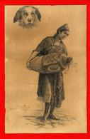 DESSIN ORIGINAL  ORIENTALISTE  PORTEUSE D EAU ET FIGURE DE CHIEN - SIGNE A POINT 1891  -  VENDU DANS L ETAT - Drawings