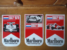 3 X STICKER / AUTOCOLLANT MARLBORO ZANDVOORT FORMULE 1 ( 1979 - 1980 - 1981 ) McLaren / Alfa Romeo - Stickers
