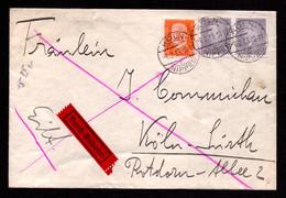 DR - Eil-Brief  KÖLN-NIPPES - Köln-Sürth - 6.2.33  - Mi.436,466 - Storia Postale