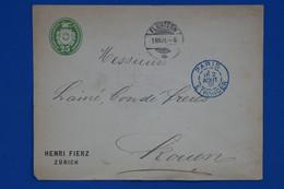 T14 SUISSE BELLE LETTRE RARE 1891 FLUNTEN A ROUEN VIA PARIS FRANCE + AFFRANCHISSEMENT PLAISANT - Covers & Documents