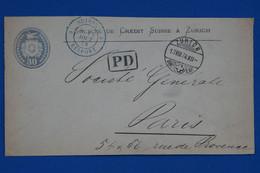 T14 SUISSE BELLE LETTRE 1874 ZURICH  A  PARIS  R.PROVENCE FRANCE + 30 C+ P.D + AFFRANCHISSEMENT PLAISANT - Lettres & Documents