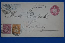 T14 SUISSE BELLE LETTRE 1888 BALE BASEL A LEIPZIG + AFFRANCHISSEMENT INTERESSANT - Covers & Documents