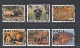 2018 Malawi Endangered Animals Rhino Hippo Lions Cheetah Elephant Complete Set Of 6 MNH - Malawi (1964-...)