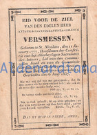 Doodsprentje - Image Mortuaire / Priester - Pastoor / Antonius Versmessen / +Sint-Niklaas, 1837 - Devotion Images
