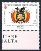 C216) SMOM 1999 - POSTA AEREA CONVENZIONE CON LA BOLIVIA - NUOVI - Malte (Ordre De)