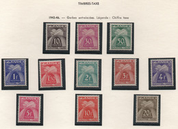 Série Complète Des 11 Timbres-taxes De La Série Gerbes Entrelacées 1943-1946 - Notés Chiffre-taxe - 1859-1955.. Ungebraucht