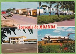 CPSM Souvenir De MOANDA Multivue Rue Pricipale Cité Comilog Mairie Aéroport Avion Air Gabon - Gabón