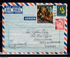 Aerogramme Van Waimate Naar Richmond Yorks (engeland) - Covers & Documents