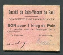 WWI Monnaie De Nécessité Carton De Rationnement - Bourges (Cher) Bon Pour 1 Kilo De Pain / Sté St Vincent De Paul WW1 - Monetary / Of Necessity