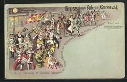 Lithographie Köln, Faschingszug Bei Mondenschein - Carnaval