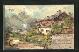 Künstler-Lithographie Theodor Guggenberger: Dél, Dorfpartie Mit Gebirgsaussicht Und Gutshaus - Guggenberger, T.