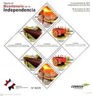 Costa Rica Bicentennial Independence, Marimba, Antorcha, Carreta, MNH 2020 - Costa Rica