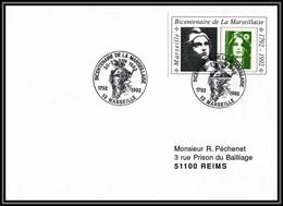 73377 Porte Timbre Marseille 1992 Bicentenaire De La Marseillaise 1989 Gandon Marianne Du Bicentenaire Lettre Cover - 1989-96 Maríanne Du Bicentenaire