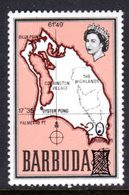 BARBUDA - 1970 20c ON 1/2c OVERPRINTED MAP STAMP FINE MNH ** SG 79 - Barbuda (...-1981)
