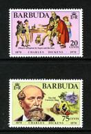BARBUDA - 1970 CHARLES DICKENS WRITER ANNIVERSARY SET (2V) FINE MNH ** SG 83-84 - Barbuda (...-1981)