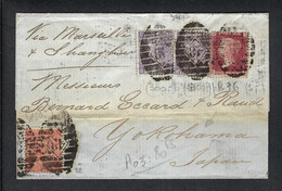 GRANDE BRETAGNE 1867: Sup. LAC De Londres Pour Yokohama Via Marseille Et Hong-kong, Peu Courante - Storia Postale